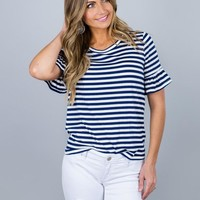 Stripes and Ruffle Sleeves Top