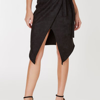 My Pleasure Suede Wrap Midi Skirt