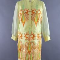 Vintage 1960s Yellow Alfred Shaheen Day Dress