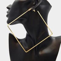 """4"""" gold over sized square earrings pierced"""