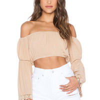 Blue Life Lace Trim Tube Top in Tan