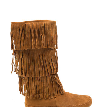 My Tribe Fringed Moccasin Boots