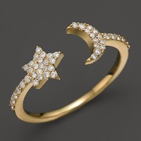 Meira T 14K Yellow Gold Moon & Star Ring with Diamonds