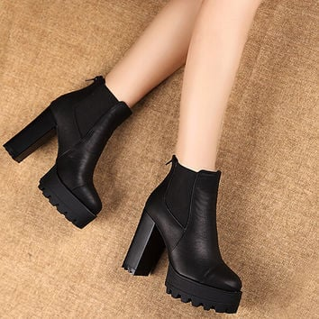 Waterproof Leather Heels Shoes Boots