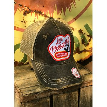 National Bohemian Live Pleasantly Beer Hat- Distressed Black Angry Minnow Vintage