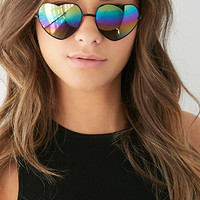 Mirrored Heart-Shaped Sunglasses