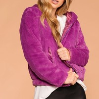 Cuddle Bug Violet Faux Fur Bomber Jacket