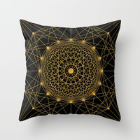 Geometric Circle Black and Gold Throw Pillow by Fimbis