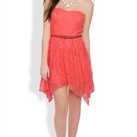 Lace Strapless High Low Dress with Hanky Hem and Braided Belt