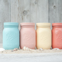 Painted mason jars, colored jars, beach wedding centerpieces, beach party decor, mason jars.