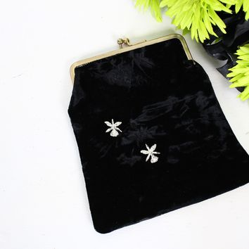 Vintage 1950s Black Velvet Clutch Purse With Rhinestone Flower Brooches And Pink Satin Lining