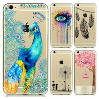 I6 Super Soft  Clear TPU Case For Iphone 6 4.7inch Slim Peacock Back Protect Skin Rubber Phone Cover Case