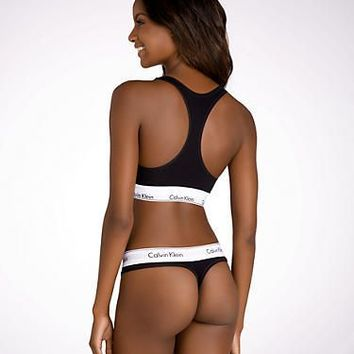 Calvin Klein Modern Cotton Thong Panty F3786 Set at BareNecessities.com