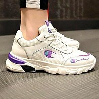 Champion Fashion Women Casual Embroidery Sport Running Shoes Sneakers White&Purple