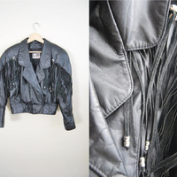 Pour Some Sugar - Vintage 80s 90s Black Leather Tassel Medalion Jacket Coat