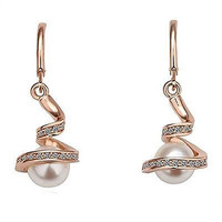 Gold Plated Austrian Crystal And Pearl Womens Earrings