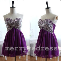 Beads Sweetheart Strapless Empired Celebrity Dress,Mini Chiffon Formal Evening Party Prom Dress New Homecoming Dress