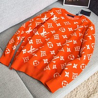 LV Louis Vuitton Hot Sale Women Men Fashion Jacquard Long Sleeve Cute Sweater Sweatshirt Top Orange