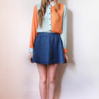 tea and tulips boutique - one of a kind vintage. — two toned blouse