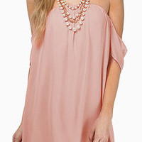 Pink Strapless Chiffon A-Line Mini Dress