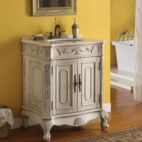 Verena antique white finish wood country Victorian style wash basin sink and cabinet set with marble top