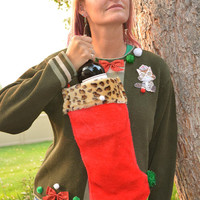 Wine Holder, Ugly Christmas Sweater, woman's Large, creepy cat, wine, novelty, one of a kind, cat, one of a kind, cheetah print