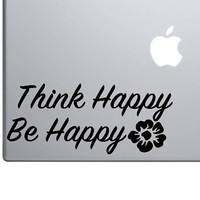 """Think Happy, Be Happy Motivational Sticker Decal MacBook Pro Air 13"""" 15"""" Laptop Decal Retro Vintage Inspirational Text Quote Sticker Flower"""