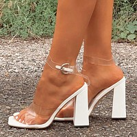 New women's shoes square toe thick heel cross sexy transparent high heel buckle sandals