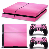 PInk Vinyl Decal Skin For playstation 4 Console +2Pcs Stickers For ps4 Controllers