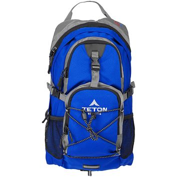 TETON Sports Oasis 1100 Hydration Pack; Free 2-Liter Hydration Bladder; For Backpacking, Hiking, Running, Cycling, and Climbing Bright Blue