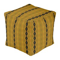 Modern Abstract Stripes in Black, Gold, and Olive Pouf