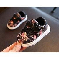 Cute Girl Floral Sneakers With Velcro Closure