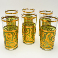 Set of 6 Vintage Culver Cocktail Glasses, Culver Toledo Highball Glasses, Mid Century Glassware, Green and 22 K Gold, 1950s-1960s