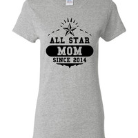 Allstar MOM Since 2014 Great Printed Mothers Day Gift Pick Your Date Wife Printed Graphic Wedding T Shirt Anniversary Mothers Day T Shirt