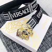 Versace New fashion human head buckle letter print leather couple belt Gold