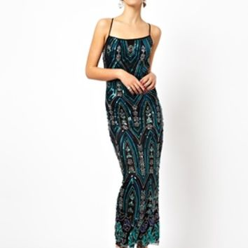 Frock and Frill Cami Maxi Dress in Heavy Embellishment