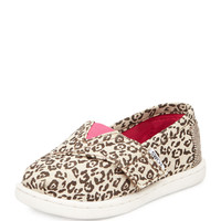 Canvas Leopard-Print Classic Shoe, Tan, Tiny - TOMS