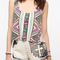 Urban Outfitters - Truly Madly Deeply Cropped Geo Print Tank Top