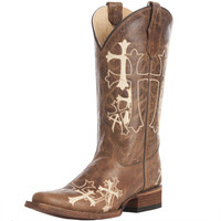 Women's Brown and Beige Cross Embroidered Circle G Cowgirl Boots