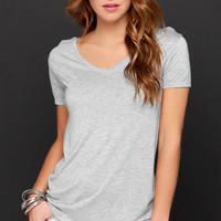Let's V Friends Heather Grey Tee