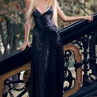 Shimmer and Shine Black Sequin Sleeveless Spaghetti Strap V Neck Backless Maxi Dress Evening Gown - As Seen on Kristina Dolinskaya - Back in Stock - Sold Out