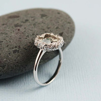 Silver Rough Mixed Gemstone Bird Nest Ring by tooriginal on Etsy