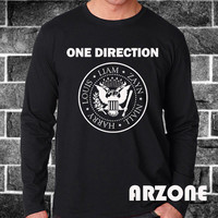 One Direction Shirt 1D Ramones Logo Long Sleeve Printed Black and White Color Unisex Size - AR53