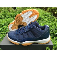 "Air Jordan 11 Low ""Navy Gum"" Basketball Shoes"