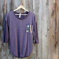 Sequin Pocket Tunic Top in Plum