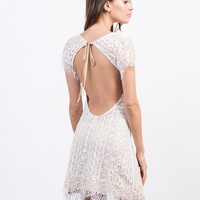 Open Back Tie Lace Dress