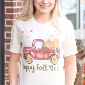 {H. Oat} Happy Fall Y'all Truck Tee - Size SMALL