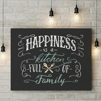 Happiness Is A Kitchen Full Of Family Framed Canvas Wall Art Kitchen Decor