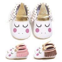 New Unicorn baby shoes PU leather gold soft sole baby brand shoes fringe baby moccasins Newborn first walker party shoes