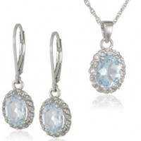 Sterling Silver Blue and White Topaz Pendant and Earrings Set